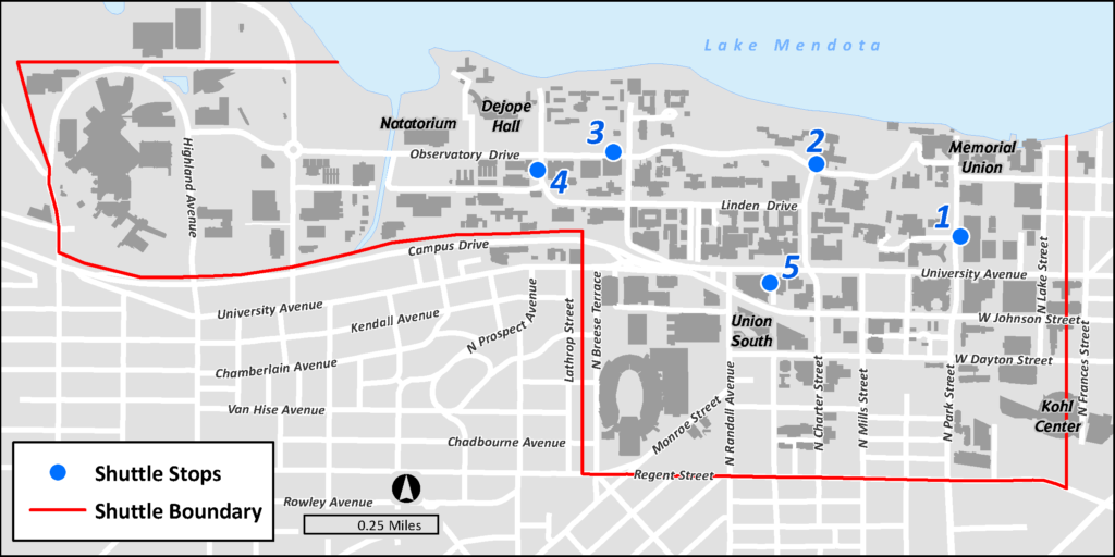 A map of campus and the various shuttle stop locations. A red shuttle boundary marks the end of where the shuttle will drop off riders.