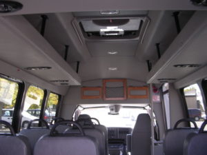 Inside shot from the van, showing the seats as would be seen while sitting in the rear.