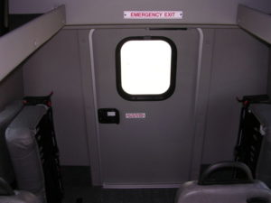 Image of the emergency exit at the rear of the bus.