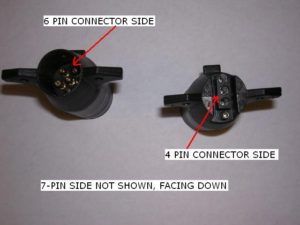 View of the wire adapters from the front - 7 pin section not showing.