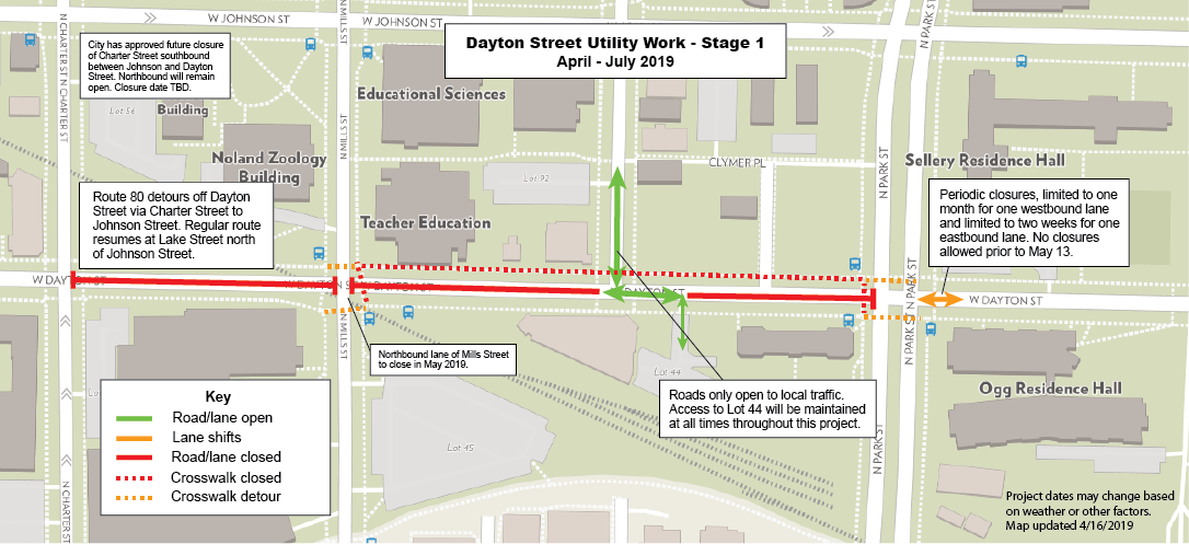 Map of Dayton Street consturciton areas. Southbound lane of N. Charter Street closed between Johnson and Dayton Streets. Northbound lane at intersection of Mills and Dayton is closed. Dayton Street between Charter Street and Mills Street is closed, as is Dayton from Mills to Brooks Street. Selective access may be available from Park Street to Lot 44; recommended route is via Brooks Street. Contact customer service (608-263-6667) for more info.
