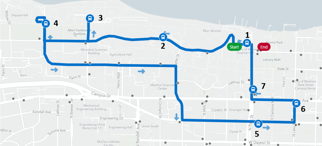 Route of the finals week overnight shuttle pilot in Spring 2019. Stops at 1) College Library (H.C. White), 2) Liz Waters Residence Hall, 3) Porter Boathouse (Lakeshore Dorms), 4) Sullivan Residence Hall, 5) Sellery Residence Hall, 6) Lake Street at University Avenue, and 7) Chadbourne Residence Hall. Shuttle service if May 5-10, starting at midnight at College Library. Service runs every half-hour from College Library until 6 a.m.