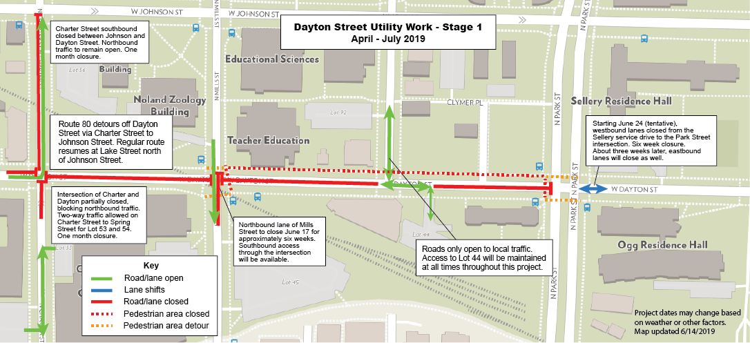 A full description of road closures associated with the Dayton Street utility project. Dayton Street closed from Charter Street to Park Street. Traffic can pass over the Dayton/Mills intersection and in a limited capacity to Lot 44. Intersection of Dayton/Charter currently closed to northbound traffic.