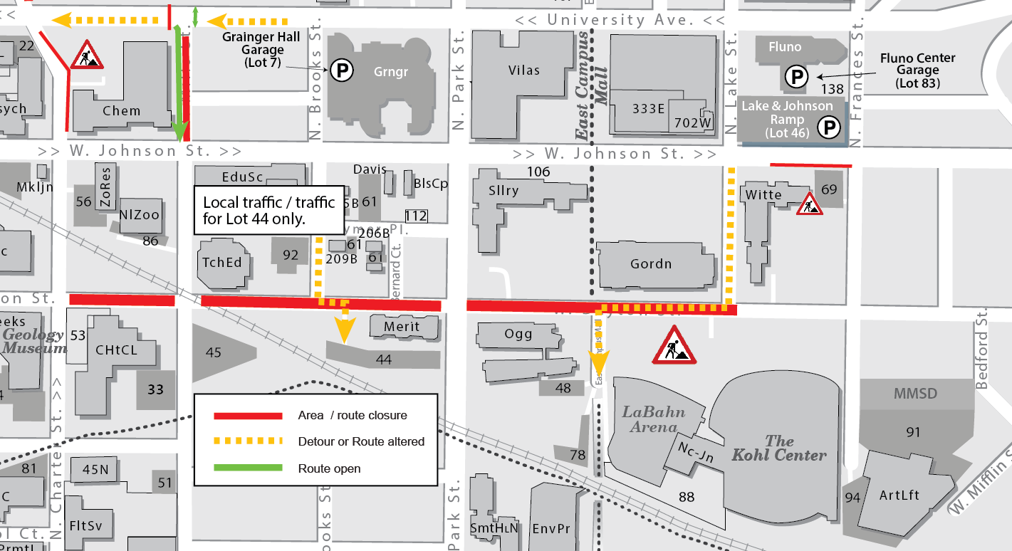 Map of the closures for the Dayton Street utilities project. Dayton Street currently closed Charter Street to Lake Street. Traffic allowed to cross at Charter, Mills, and Park Streets.