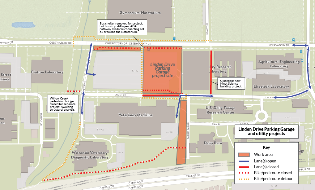 Map detailing impacts from the Linden Drive parking garage construction project and accompanying utilities work. The south sidewalk of Observatory Drive is closed from Easterday Lane to approximately Willow Drive. The northern sidewalk of Linden Drive from approximately Farm Place to the entrance to Vet Med is closed. The bicycle/pedestrian behind the Vet Med campus is closed. Part of Linden Drive is closed, so traffic must detour using Observatory Drive.