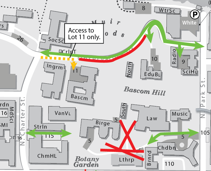 Map showing eastbound traffic is restricted on part of Observatory Drive between Bascom Hall and the Education Building. Local traffic to Lot 11 is allowed to head eastbound to the lot, but no farther. Access to Lot 9 and 10 allowed from Park Street only.
