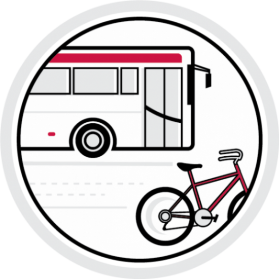 Circular icon of a bus and bicycle.