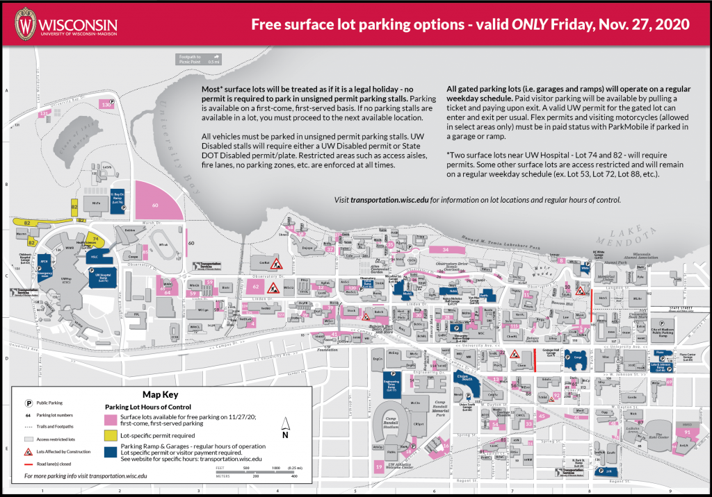 Map of parking lots available for free (non-permit parking) on Friday, Nov. 27, 2020. Only select surface lot locations are available.
