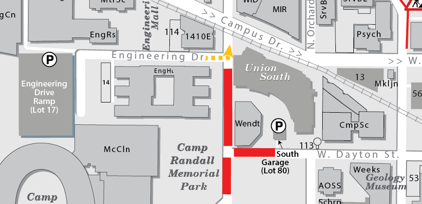 Map detailing the Nov. 18 closure of Randall Avenue and part of Dayton Street.
