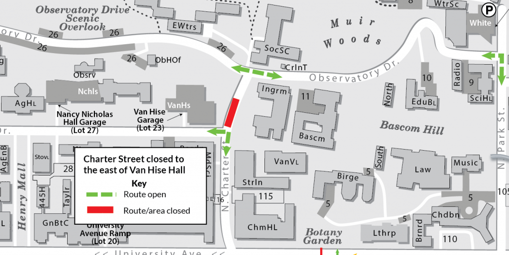 Map showing the traffic impacts of the Charter Street closure near Van Hise Hall. Section of Charter closed between Linden Drive and Observatory Drive. Detour available onto Linden Drive.