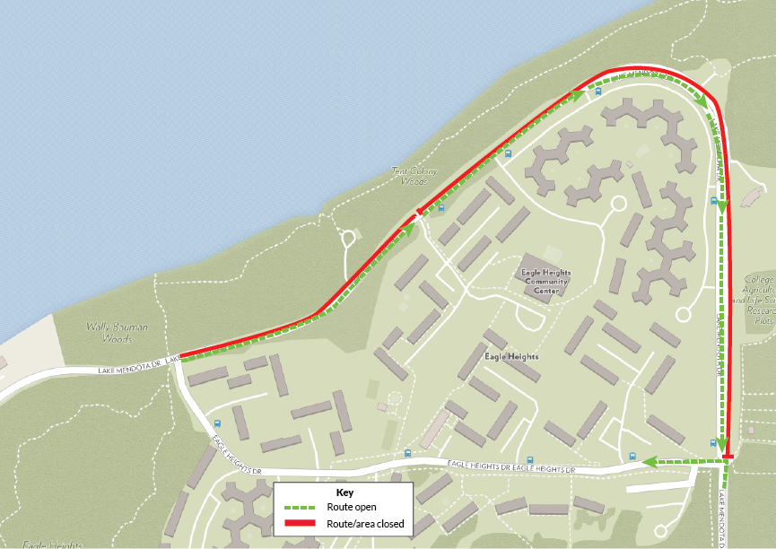 A map of the Eagle Heights area shows traffic will flow in a clockwise direction -- vehicles head west on Eagle Heights Drive, where they can then go east and then south on Lake Mendota Drive. No northbound or westbound travel on Lake Mendota Drive.