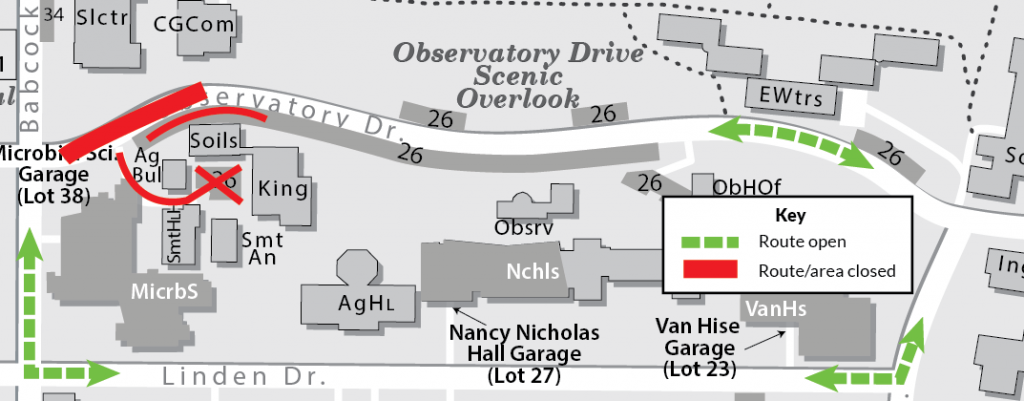 A map showing the area of Observatory Drive closed between Babcock Drive and the Soils Building--this is for a road repair project. A detour route is marked in a dashed green line showing arrows of directional travel; the detour path redirects traffic to Linden Drive.