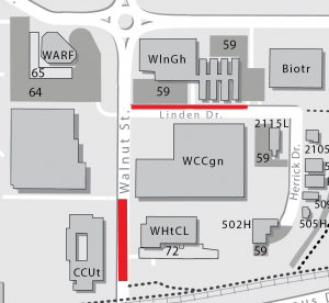 A map showing what areas are closed for a road repair project: Walnut Street between Gifford Pinchot Drive and the Campus Drive Bike Path as well as some parking stalls (Lot 59) along Linden Drive.