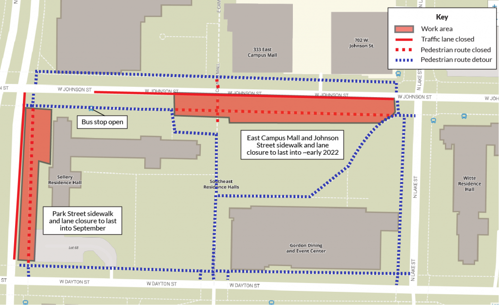 Map indicating the road and pedestrian route closures due to work around Sellery Hall and East Campus Mall. Pedestrian routes are marked in dashed lines, red for closed area and blue for the detour path.